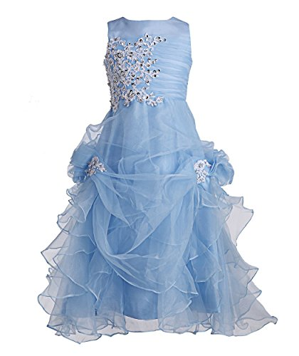 FAIRY COUPLE Big Girl's Ruffled Applique Flower Girl Communion Pageant Dress K0073 8 Baby Blue -