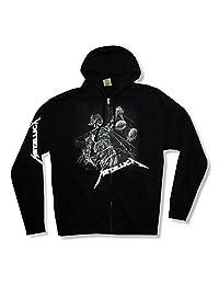 Bravado Adult Metallica Justice Black & White Black Zip Hoodie Sweatshirt