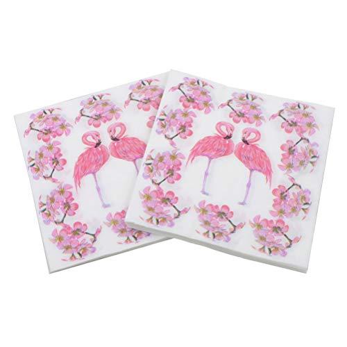 80pcs Colorful Flamingo Printing Napkin Flower Napkin for Party Gathering Festival Home -