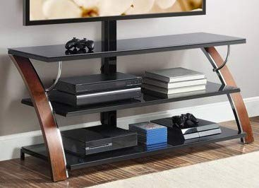 (TV Stands Table Cabinet-Brown Cherry Wood Glass Shelves for up to 65 Inch Display Your TV in Style)