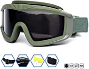SPOSUNE Outdoor Sports Airsoft Tactical Goggles with 3 Lens UV400 Impact Resistance, Shooting Goggles for Men