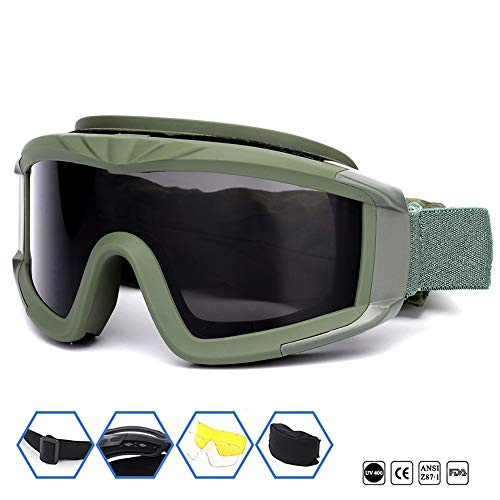 Outdoor Sports Military Airsoft Tactical Goggles with 3 Interchangable Lens Impact resistance Hunting Eyewear, UV400 Protection Shooting Glasses for Men Women Motorcycle Riding Wargame Paintball Olive ()