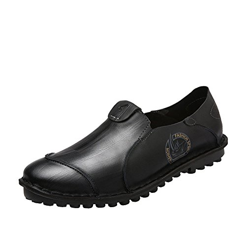 Lisianthus Mens Causal Flat Leather Loafers Black-1 2LVxTW