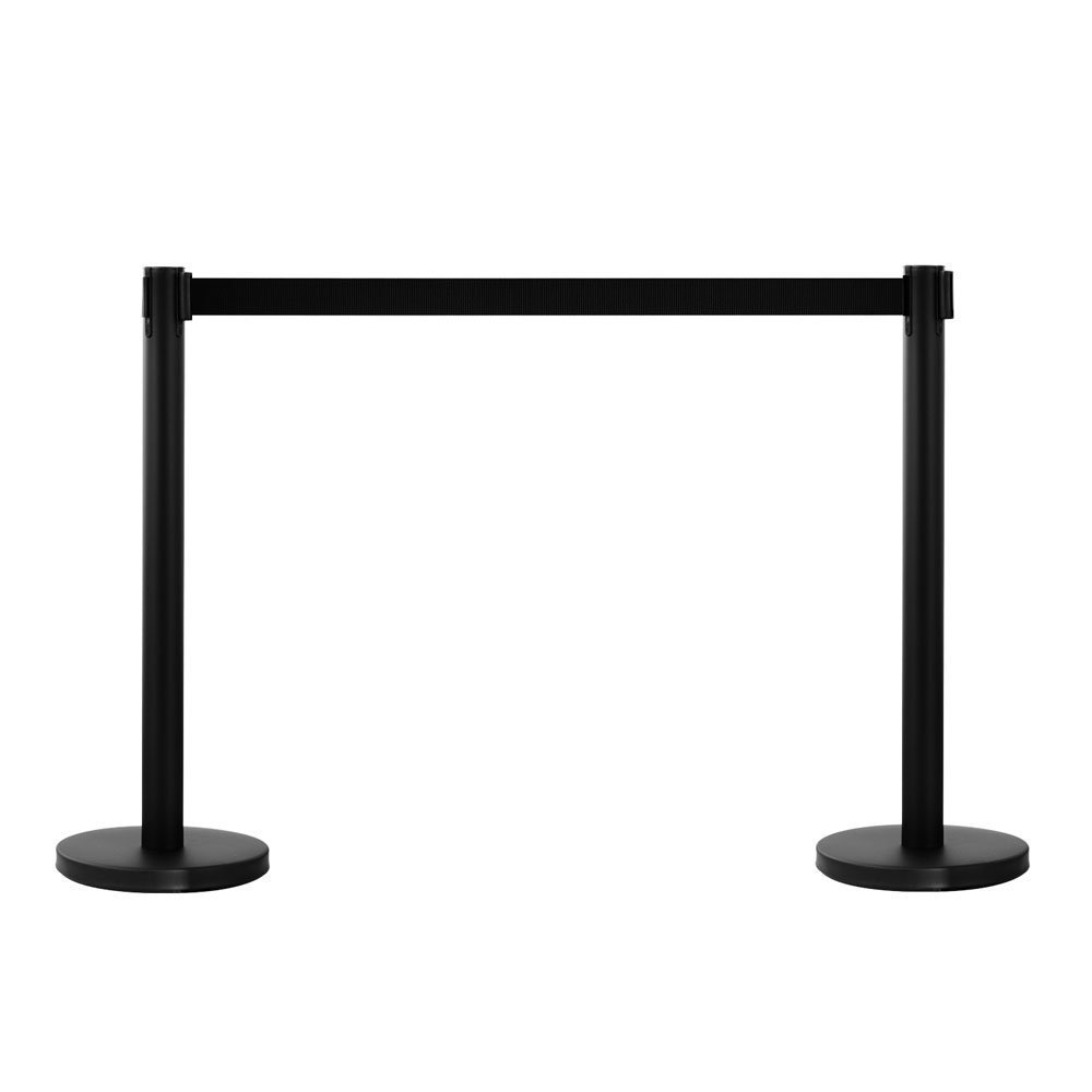 Leadzm 2PCS Queue Pole Retractable Crowd Control Stanchion Barrier Posts, Stainless Steel Security Fence- Black