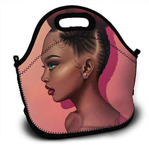 SARA NELL Neoprene Lunch Bag African American Girl Red Hair Afro Girl Lunch Tote Travel Picnic Lunch Backpack Lunchbox Handbag with Adjustable Shoulder Strap for Women Teens Girls Kids]()