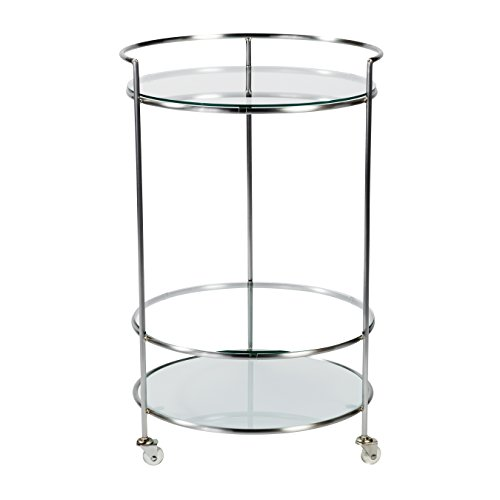 Euro Style 21000BA Roberta-HR Rolling Cart, Frosted Glass/Brushed Aluminum