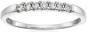 10k White Gold Round 7-Stone Diamond Ring (1/4 cttw, H-I Color, I2-I3 Clarity), Size 5