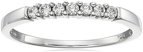 10k White Gold Round 7-Stone Diamond Ring (1/4 cttw, H-I Color, I2-I3 Clarity), Size 9 by Amazon Collection