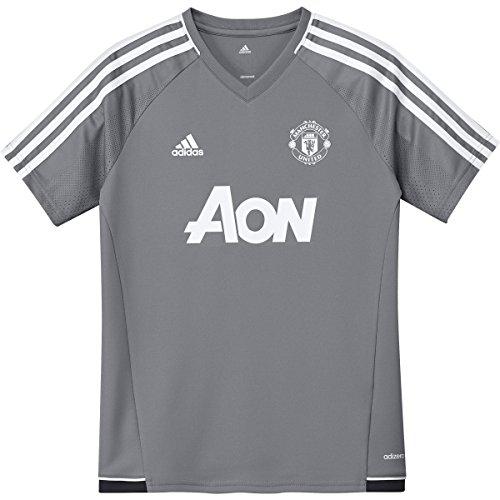adidas Boy's Manchester United Tiro Training Jersey (Large) Grey / White
