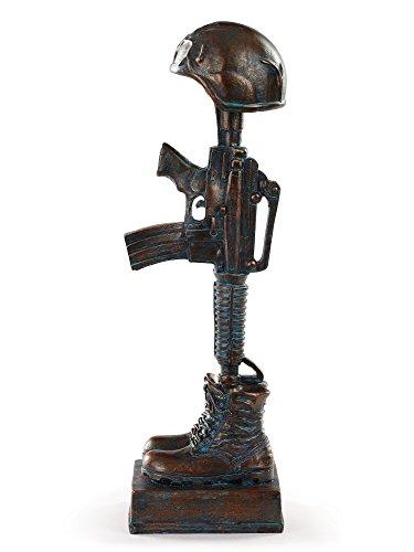 - Military Soldier Battle Cross Patina 11.75 Inch Resin Decorative Indoor Outdoor Garden Statue