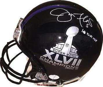 Amazon.com  Signed Joe Flacco Helmet - SB XLVII Logo Full Size Proline  5  SB XLVII MVP minor bleed ITP Hologram  W424459 - JSA Certified  Sports ... aba92e135