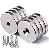 DIYMAG 8 Pack 1.26 inch x 0.2 inch Neodymium Disc Countersunk Hole Magnets. Strong, Permanent, Rare Earth Magnets,with 8 Screws.