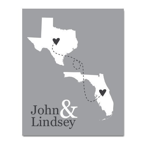 Amazoncom Personalized Two State Paper Art Print Any Two States