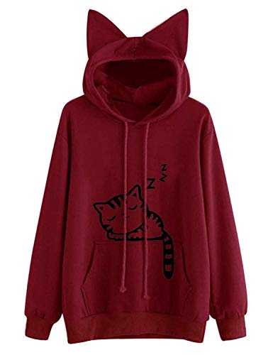 Lziizl Women Girl Red Hoodies Long Sleeve Cute Cat Ear Pullover -