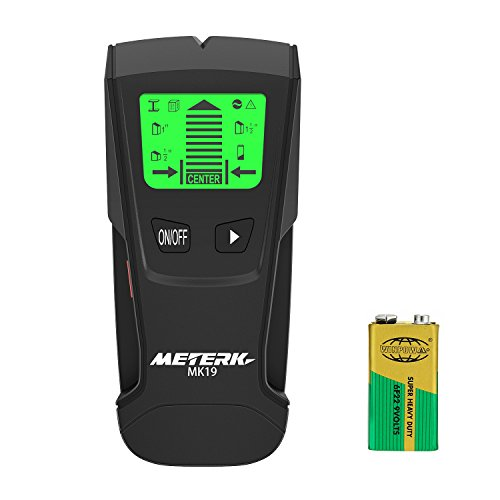 Meterk Stud Sensor with Large LCD Display, Stud Finder Wood Studs Center Finder Multi Wall Detector For Metal, AC Live Wire, Wood Finder with Warning Detection