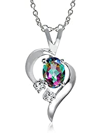 """Natural Gemstone 925 Sterling Silver Modern Heart Pendant w/18"""" Chain Necklace"""