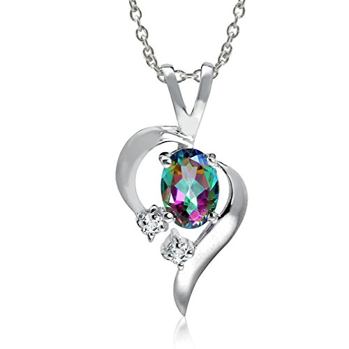 Mystic Fire Topaz 925 Sterling Silver Modern Heart Pendant w/ 18 Inch Chain Necklace