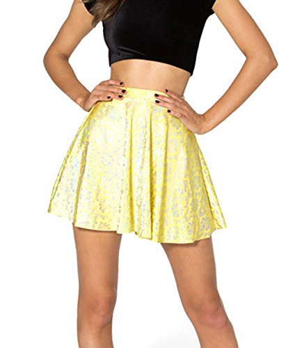 YoungG-3D Women's 3D Small Floral Printing Skirt Graphic High Waisted Mini Skater Skirt Beachwear Picture Color (Costume Rentals Seattle)