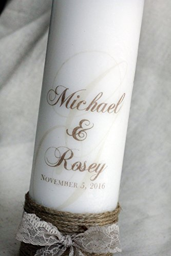 Rustic Personalized Unity Candle with jute and lace