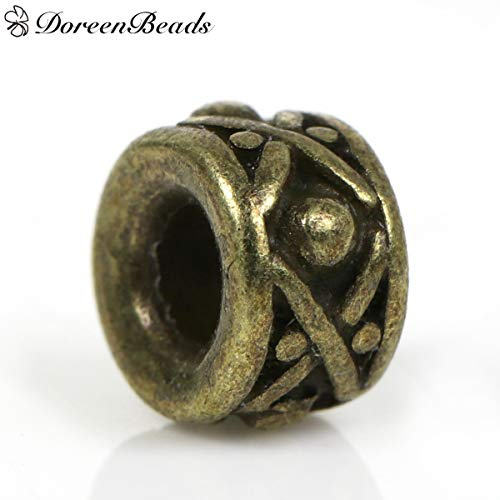Dynamic Items Shop Beads Cylinder Antique Bronze Dot Carved Pattern About 8mm(3/8