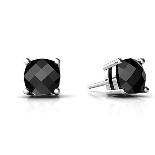 14kt White Gold Black Onyx 6mm Cushion Checkerboard Cushion Stud Earrings