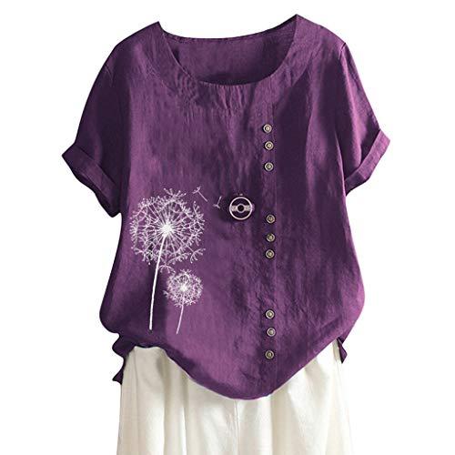 Londony❀♪ Women's Short Sleeve Cotton Linen Jacquard Blouses Top T-Shirt Linen Retro Chinese Frog Button Tops Blouse Purple