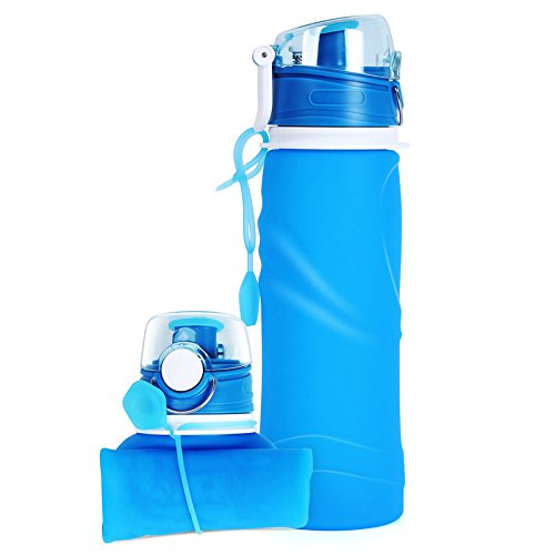 Imikoko Collapsible Water Bottle, 750ML/26oz BPA Free Sports Travel Bottles FDA Approved Portable Leak Proof Silicone Drink Bottle Folding Reusable for Traveler Walking Camping Hiking(Blue)