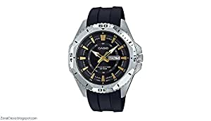 Casio Men's Quartz Watch, Analog Display and Rubber Strap Mtd-1085-1Avdf, Black Band