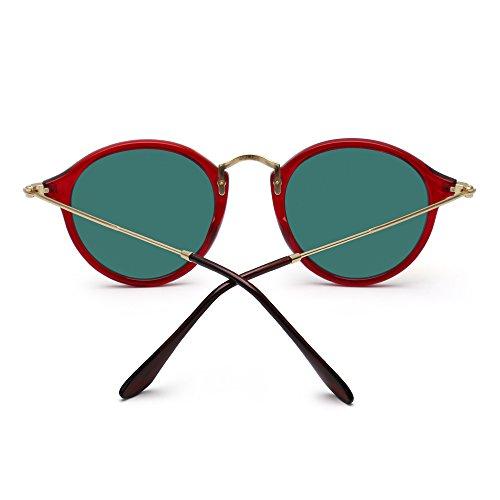 Hombre Mujer Pequeño Rojo de Espejo Gafas Lentes de Polarizadas Circulo Tintado Rojo Sol Retro Redondas Wc1HWPSRqw