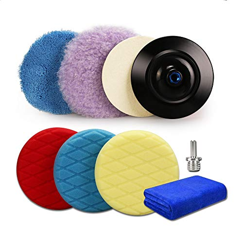 "ZFE 9pcs 5.5 Inch 140mm Sponge Polishing Pads and Wool Buffing Pads Kit with 5/8""-11 Drill Adapter and Backing Pad for Car Sanding Waxing and Polishing"
