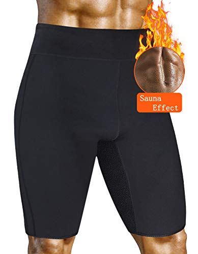 AGROSTE Mens Weight Loss Sauna Hot Sweat Thermo Shorts Out Pocket Body Shaper Neoprene Athletic Yoga Pants Gym Tummy Fat Burner Slimming Sport Pant