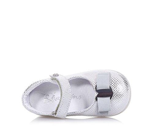 NATURINO - Ballerine argent en cuir, idéale pour les premiers pas et pour ramper, fermeture en velcro latérale, Fille, Filles