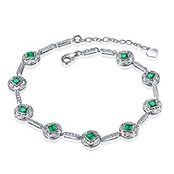 White Yellow Gold Genuine Emerald Diamond Bracelets