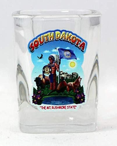 (South Dakota State Montage Square Shot Glass)