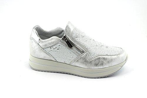 des amp;Co Glissent Blanches Chaussures de Baskets 1154111 Paillettes sur Sport Igi Bianco Zip pq60zwA