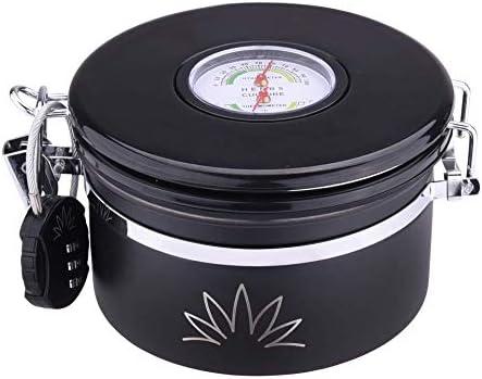 CryptRecipiente para almacenamiento con higrómetro incorporadoFrasco hermético con paquete de humedad y cerraduraA prueba de olor y agua mantiene las hierbas frescas con RH Paquete de humedad StayFresh incluido 600 ml