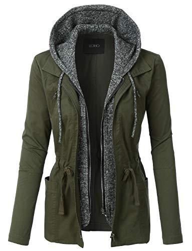 layered hooded leather jacket - 7