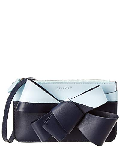 Leather Delpozo Zip Bow Mini Clutch Blue 0rqwtrZx