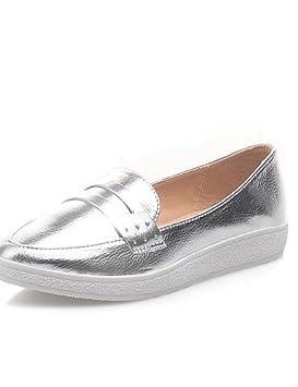 Zapatos de mujer - Tacón Bajo - Comfort / Puntiagudos - Mocasines - Vestido / Casual - Semicuero - Negro / Blanco / Plata: Amazon.es: Deportes y aire libre