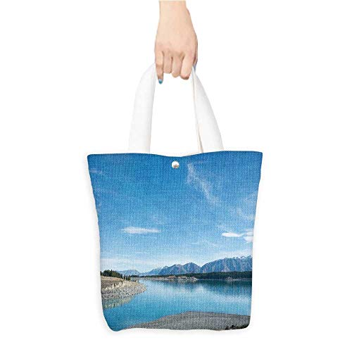 Travel Shoulder Tote Bagblue lake mountain r ge blue sky in south isl new zeal Durable and Practical W11 x H11 x D3 INCH