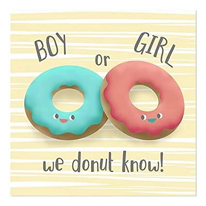 CGSignLab 5-Pack Inner CircleGender Reveal -Donuts -Square Window Cling | 16x16
