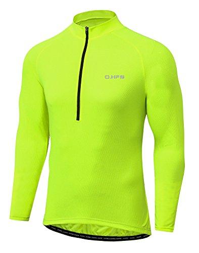 O·HFS Men's Cycling Jersey, Long Sleeve Bicycle Bike Shirt, Reflective & Quick Dry(L, Hi-viz Yellow) (Bicycle Sleeve Long)