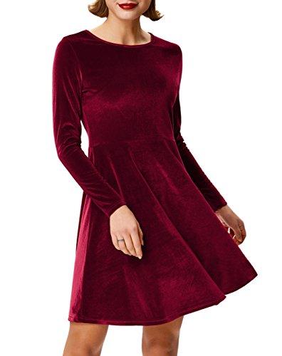 Velvet Holiday Dress (Women's Velvet Swing Dress Long Sleeve for Holiday Size 2XL Burgundy AF1059-2)