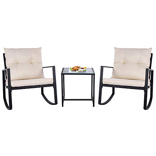 SUNLEI Walsunny Outdoor 3-Piece Rocking Bistro Set Black Wicker Furniture-Two Chairs with Glass Coffee Table (Beige -