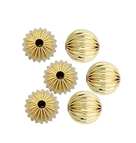 200pcs Top Quality Beautiful Mellon Spacers 10mm Loose Round Metal Beads Gold Plated Brass for Jewelry Craft Making CF116-10
