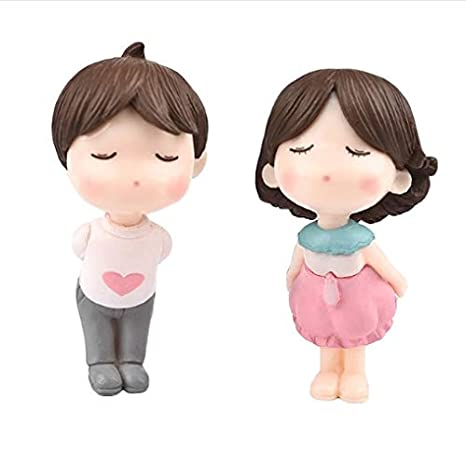 2pcs Lovely Couple Standing for Miniature Garden - Pink