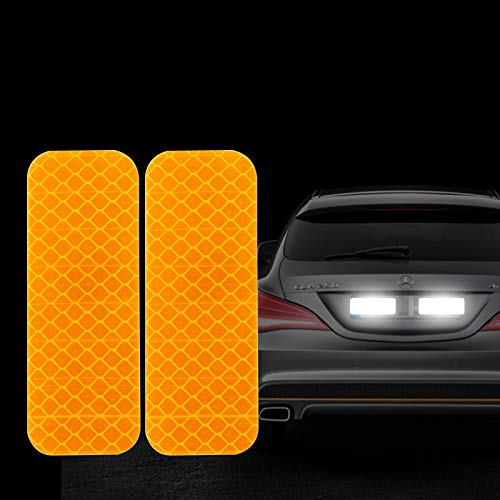 FOLCONROAD 10Pcs Car Reflective Warning Strip Stickers Safety Warning Light Reflector Protective Sticker [Yellow-Rectangle][US Warehouse]