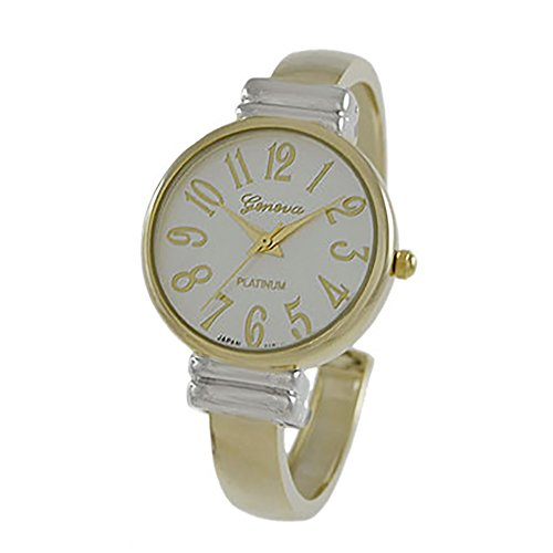 Rosemarie Collections Women's Large Numeral Metal Cuff Watch (Two Tone-Gold with - Of Stores Number Macy's