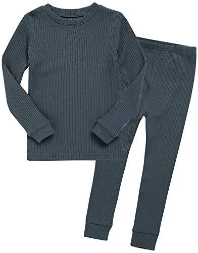 Vaenait baby Kids Girls Long Sleeve Modal Sleepwear Pajamas 2pcs Set Rib Knit Chacoal L