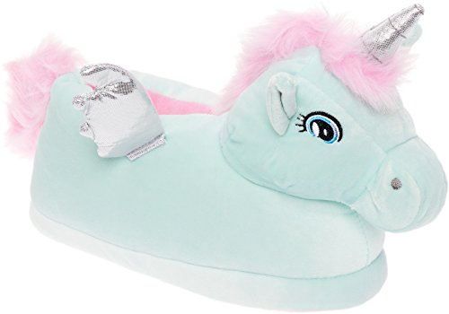 Silver Lilly Pegasus Slippers - Plush Animal Slippers w/Comfort Foam Support (Blue, Large) -